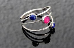 Pierścionek srebrny z agatem i lapis lazuli