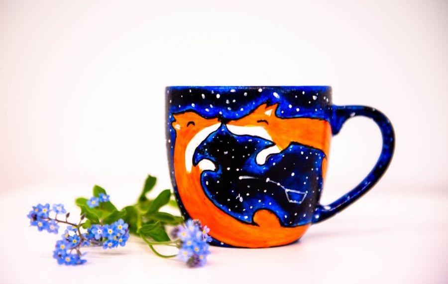 lisy kubek ręcznie malowany galaxy