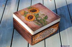 Kufer ze słonecznikami, prezent, sentencja
