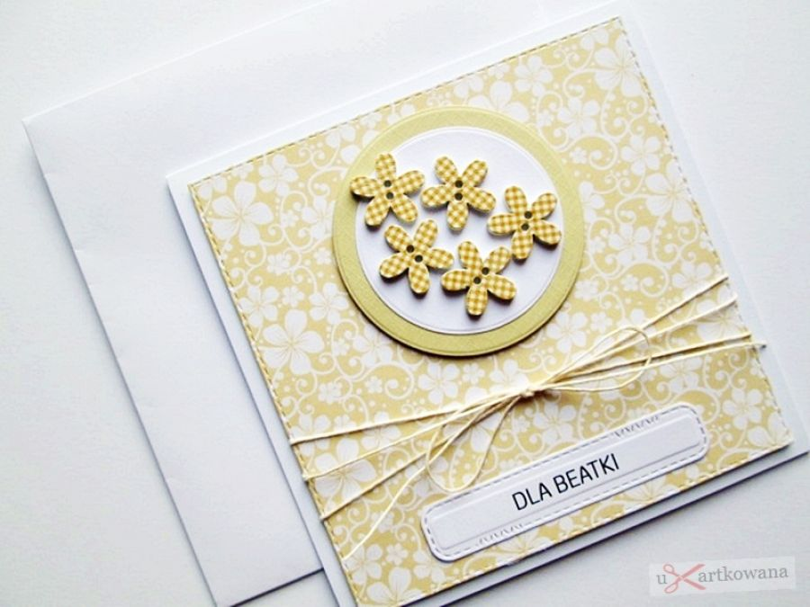 Kartka UNIWERSALNA żółto-białe kwiatki
