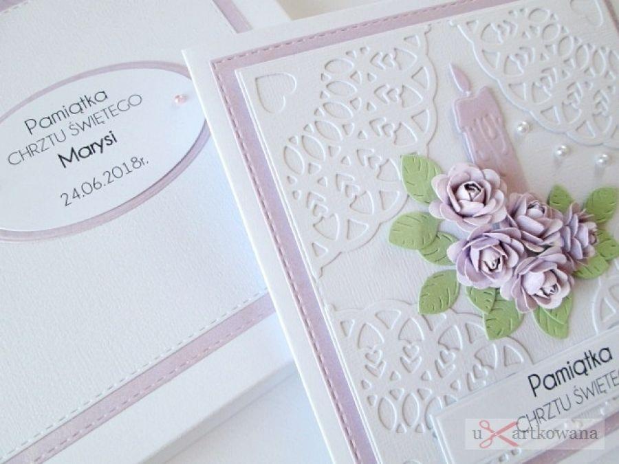 Kartka PAMIĄTKA CHRZTU ze świecą #10 - Biało-różowa kartka na Chrzest w pudełku