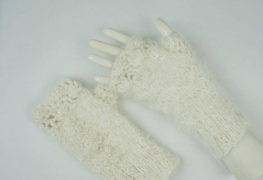 Rękawiczki mitenki angora - rękawiczki zimowe