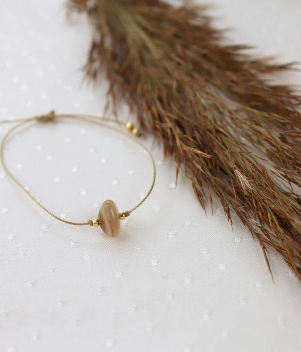 Bransoletka z kamieniem agatem botswana - Sznurkowa bransoleta z kamieniem