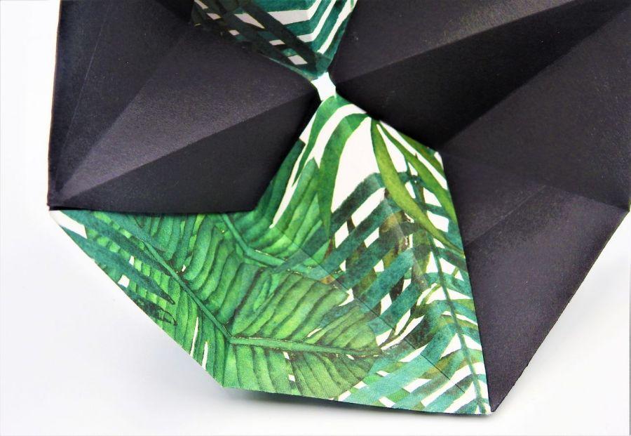 Geometryczna miseczka origami w liście palmy - 3