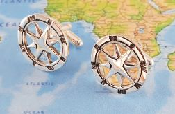Spinki srebrna róża wiatrów, kompas próba 925