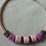 Naszyjnik z ceramiki - róż i fiolet - Naszyjnik - ceramika