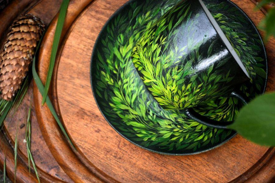 filiżanka z podstawką- zielono mi, natura