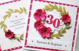 Kartka ROCZNICA ŚLUBU biało-różowa