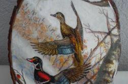 Kaczki- obrazek na drewnie