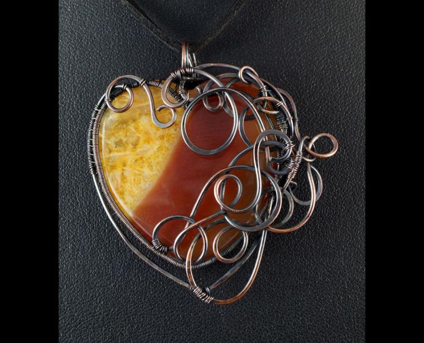 Miedziany wisior z agatem pomarańcz serce