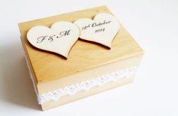 Naturalne pudełko na obrączki 2 serca