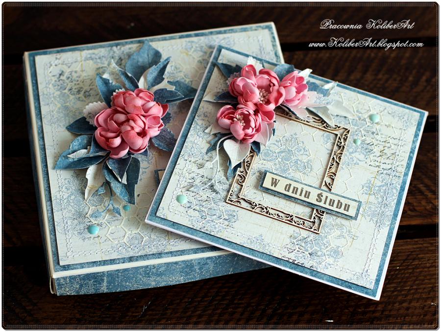 Kartka Ślubna mediowa z ramką i kwiatami