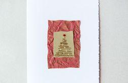 Kartka z choinką bordo i złoto - nr 4