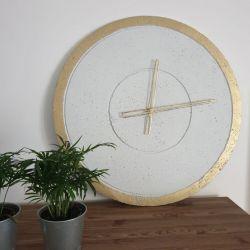 Zegar Betonowy Groove Biały Złoty 60 wsk ażur