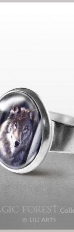 Pierścionek - Szary wilk
