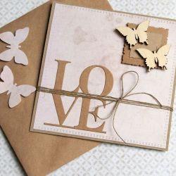 kartka ślubna lub miłosna : LOVE : butterfl