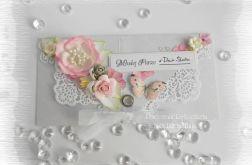Kopertówka ślubna szaro różowa #1
