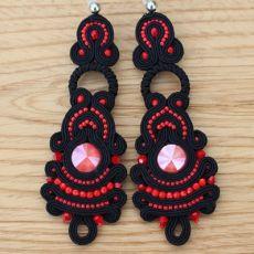 Kolczyki sutasz,długie,lekkie czarno-czerwone