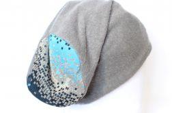 czapka szara dzianinowa z kolorowa górą