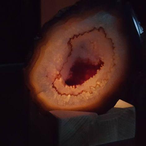 świecznik z kamieniem  Agatem