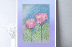 Rysunek z kwiatami na fioletowym tle nr 3