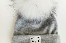 Czapka Cosy Niemowlęca z pomponem welur bawełniany-grey