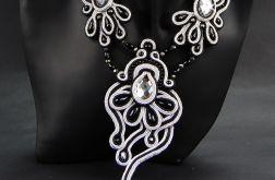 Komplet sutasz czerń szarość srebro czarna perła