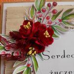 Prosta kartka  na dowolną okazję - papierowe kwiaty