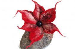 Czerwień Róż Kwiat Broszka z Filcu