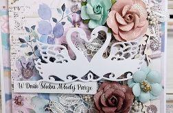 Łabędzie - kartka z okazji ślubu z pudełkiem