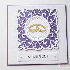Kartka W DNIU ŚLUBU fioletowo-biała