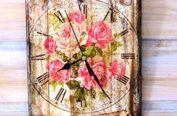 Zegar shabby chic, róże, vintage