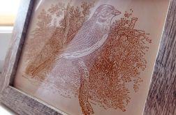 4A. Obraz Drzeworyt Ptak Efekt Korników(258x197)mm