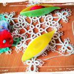 Oryginalny naszyjnik koronka czółenkowa - frywolitka czółenkowa