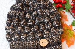 Melanżowa czapka w brązach i czerni