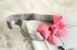 Opaska do włosów kokardka różowa + szary