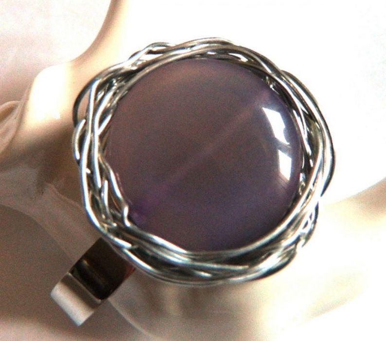Okazała bransoleta z fioletowym agatem