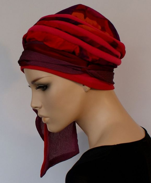 lekki turban SOCZYSTY - wiązanie szarfy z boku głowy