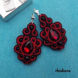 Czerwono Czarne z Kryształkami  kolczyki