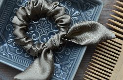Gumka scrunchie frotka jedwabna z kokardą GOLD OLIVE