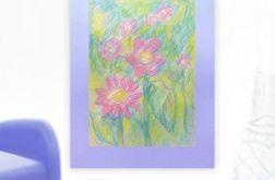 Rysunek kwiaty na fioletowym tle nr 9
