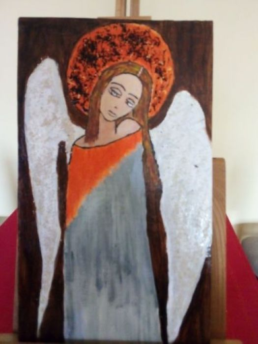 Obraz - Zamyślony anioł na desce A