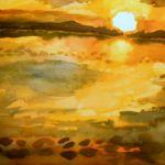zachód słońca akwarela
