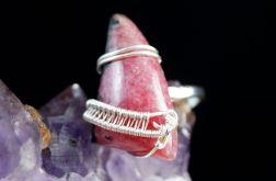 Srebrny pierścionek z rodonitem wire wrapped