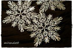 Śnieżynka drewniana 10 cm wzór 1