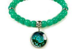 green flower bransoletka z jadeitów