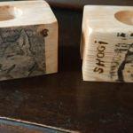 swiecznik  pojedyńczy drewniany z  obrazkiem