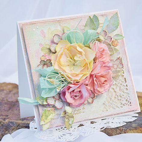 Kartka ślubna z ręcznie robionymi kwiatami