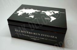 Skrzynia/kufer z wieczkiem czarny z mapą świata