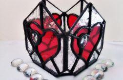 Lampion Szklane Serce Tiffany